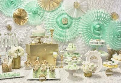 Decoração de festas e comemorações com neo mint