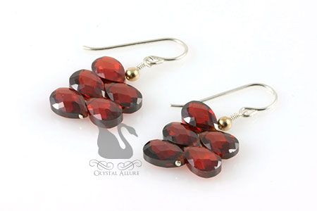 January Birthstone: Drops of Garnet Cubic Zirconia Earrings (E121)