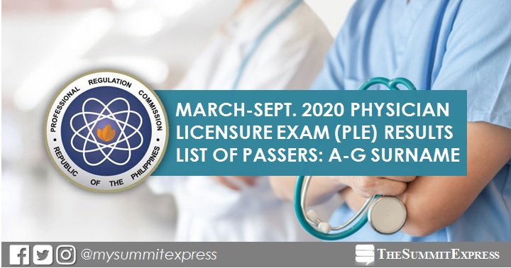 LIST OF PASSERS: A-G March, September 2020 Physician board exam PLE result