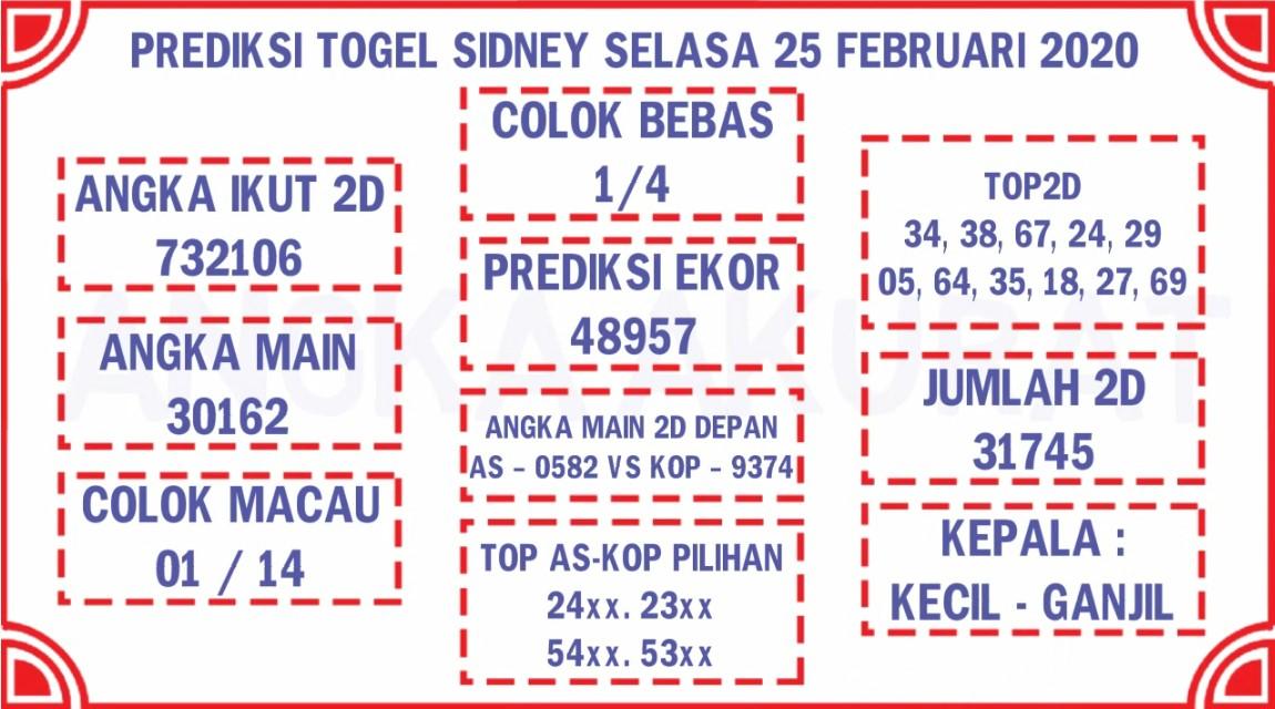 Prediksi Togel JP Sidney 25 Februari 2020 - Prediksi Angka Jitu