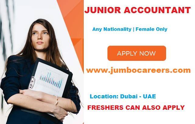 Latest Accountant vacancy in Dubai for freshers. Junior accountant salary in Dubai 2018.