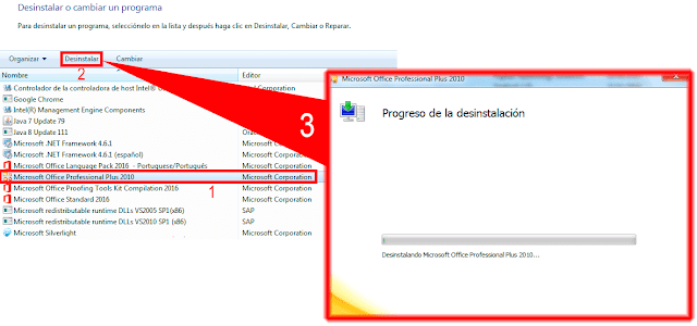 Desinstalar Microsoft Office Professional Plus 2010.
