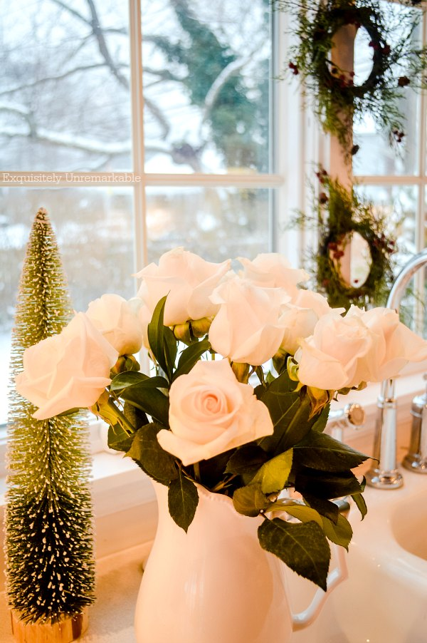 White Christmas Roses In The Kitchen