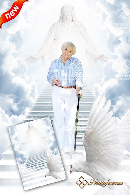 bonito fondo que simula un escenario de las escaleras que van hacia el paraíso