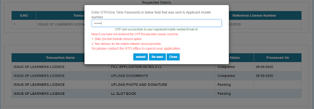 Mobile Number OTP Verification For Cancel LL Application
