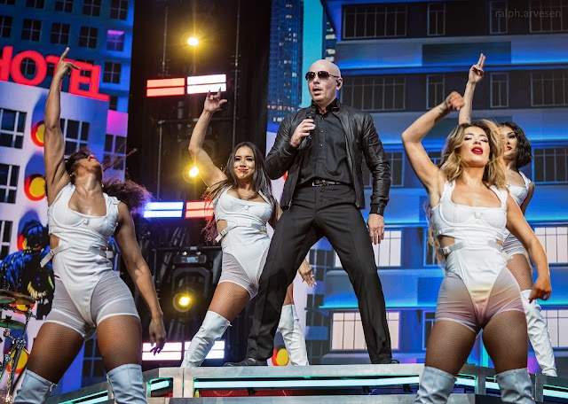 Pitbull performing at the Germania Insurance Amphitheater in Austin, Texas