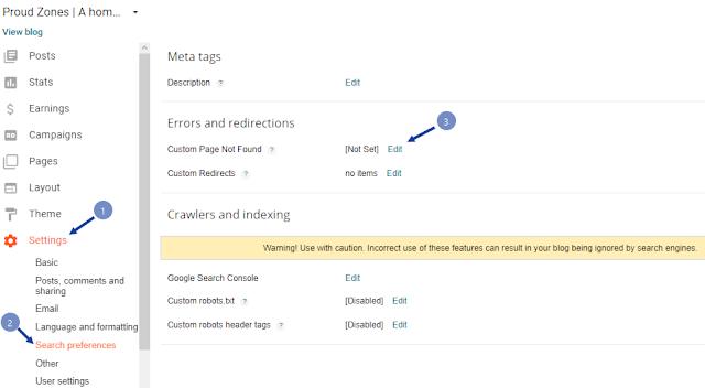 adding custom error page to blogger