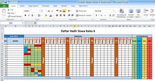 Cara Membuat Daftar Hadir di Excel untuk Absen Kelas