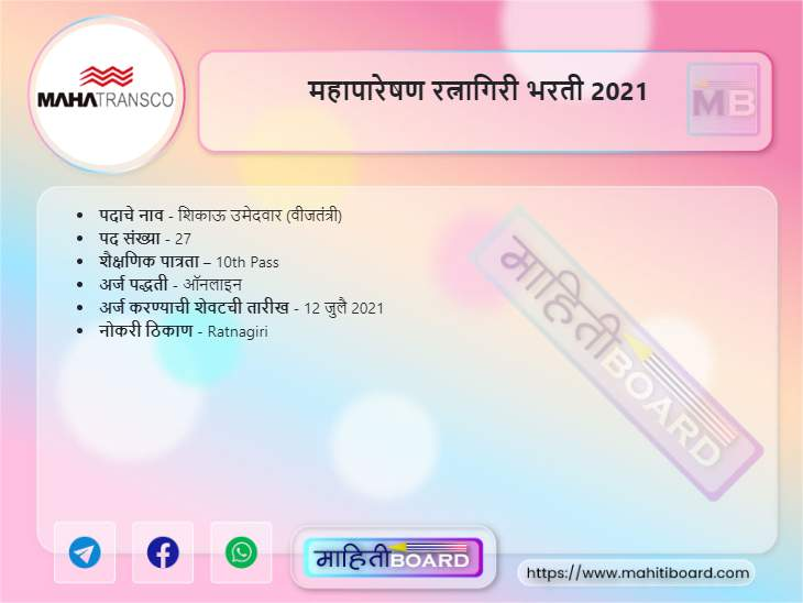 Mahatransco Ratnagiri Bharti 2021