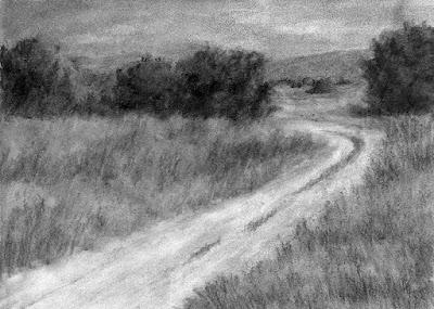 art drawing landscape charcoal rural nature open land