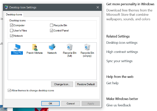 Get back default desktop icons in Windows 10