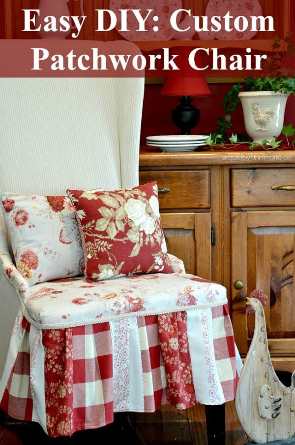 Easy DIY Patchwork Chair Pinterest graphic