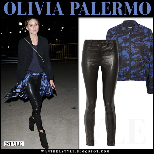 Olivia Palermo in black leather pants j brand edita and blue camo print jacket topshop ivy park what she wore