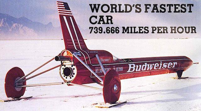 the 1980 fastest rocket car, Budweiser sponser 739 mph