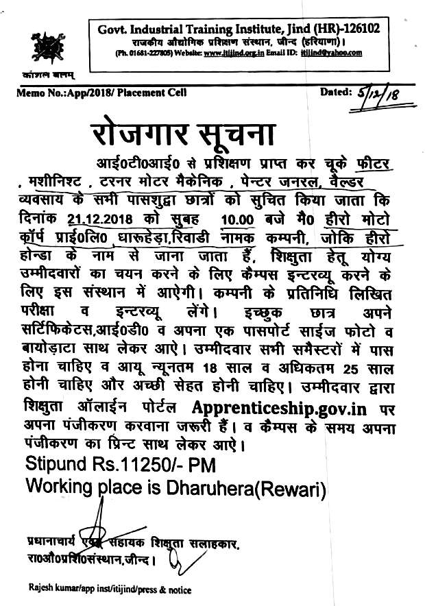 Vacancy for ITI