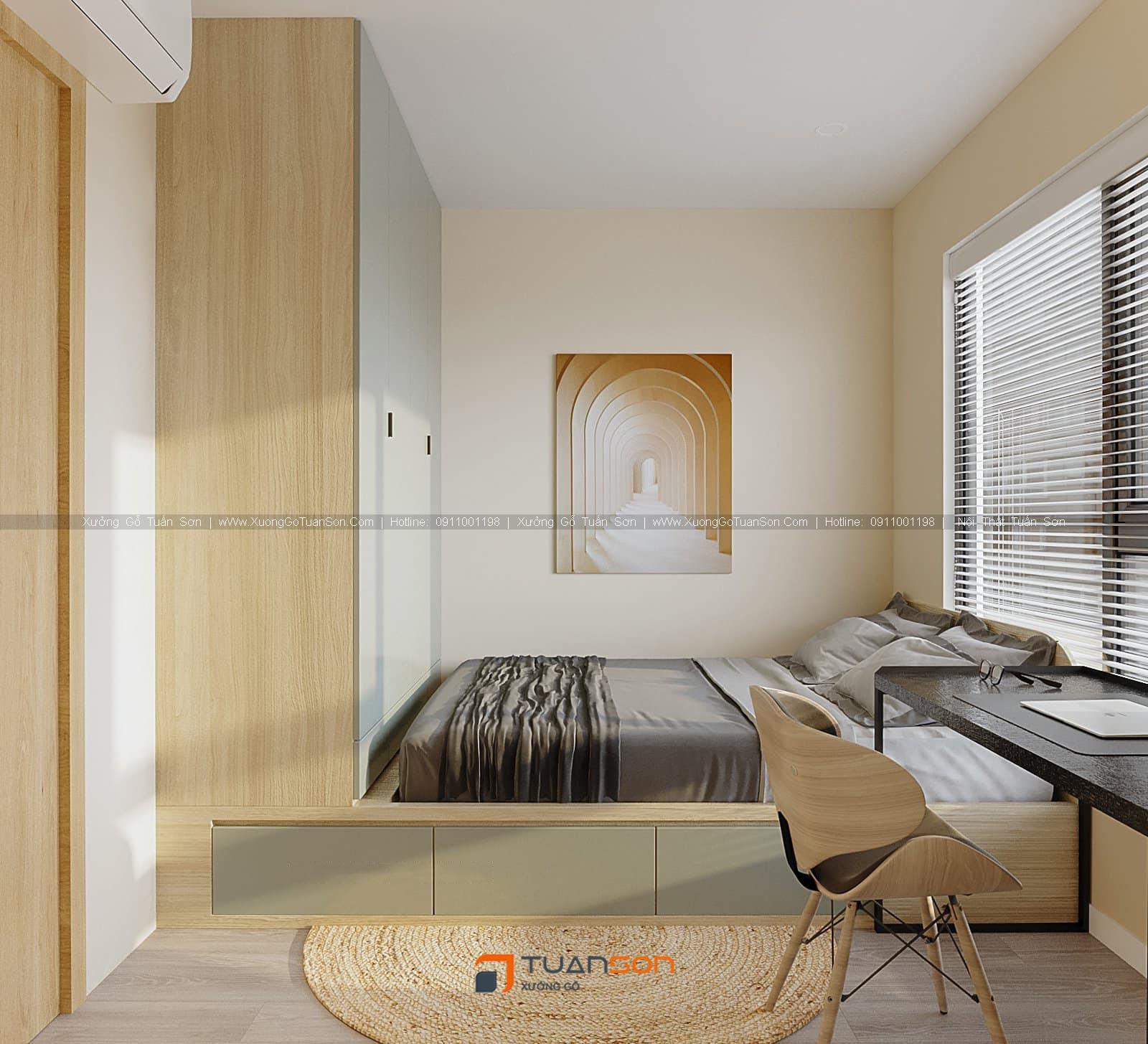 Thiết kế căn hô số 4 (57.2m2) 2PN Phương Đông Green Park