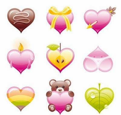 Glossy Valentine's Heart Icon Set