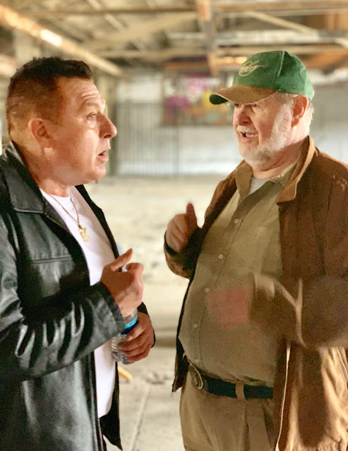"On the film set of CORE ""Killing ME"" the new music video and short film with Actor Tom Sizemore exchanging fight scene direction with Producer James Fargo"