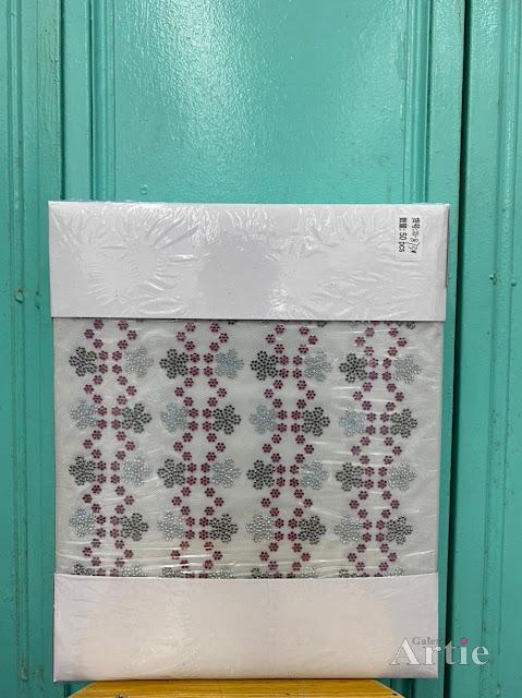 Hotfix stickers pelekat dmc aplikasi tudung bawal fabrik 5 kelopak dengan 6 bunga kecil