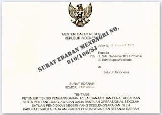 Surat Edaran Mendagri No. 910/106/SJ Terkait Dana BOS