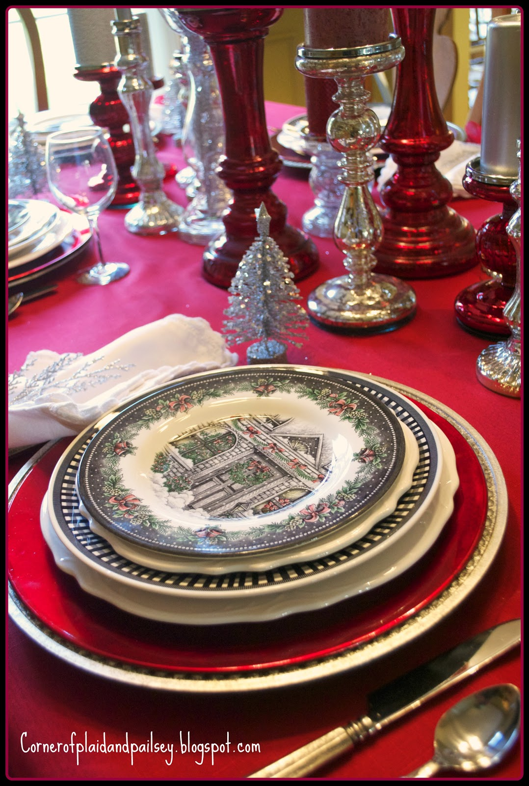 Corner Of Plaid And Paisley Christmas Tablescape Red And