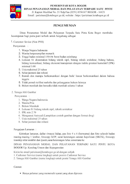 Lowongan Kerja Dinas Penanaman Modal dan Pelayanan Terpadu Satu Pintu Kota Bogor
