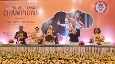 Minister Smriti Irani releases book titled Chronicles of Change Champions in New Delhi