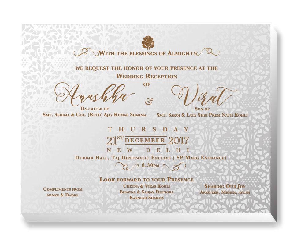 Virat Anushka marriage card