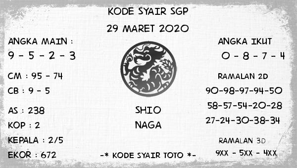 Bocoran Togel Singapura Minggu 29 Maret 2020 - Kode Syair SGP