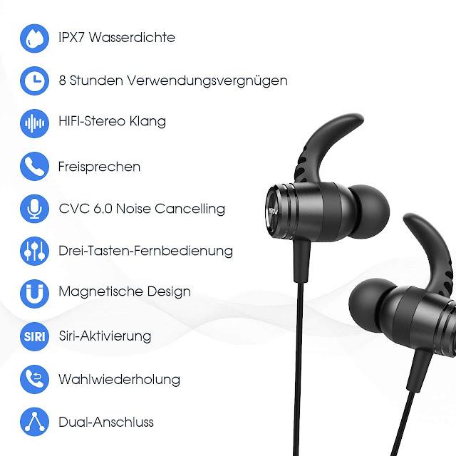 Bluetooth Kopfhörer In Ear, Mpow S10 IPX7 Wasserdicht Sport Kopfhörer, 8-9 Stunden Spielzeit/Dreiband-EQ/Mikrofon, Sportkopfhörer Joggen/Laufen/Fitness, Magnetisches Headset für iPhone Android Preis