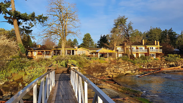 The morning sun lights up the Galiano Inn...
