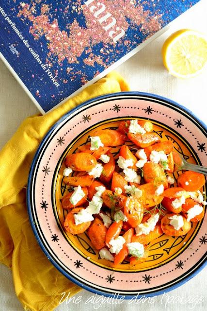 Carottes au cumin, fromage de chèvre, sauce au miel et citron, de Sabrina Ghayour