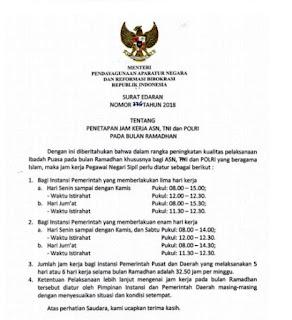 Jam Kerja PNS Bulan Ramadhan 2018