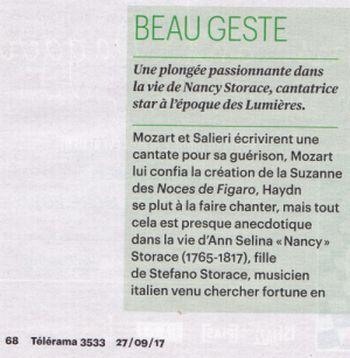 Nancy Storace muse de Mozart et de Haydn par Emmanuelle Pesqué critique Télérama