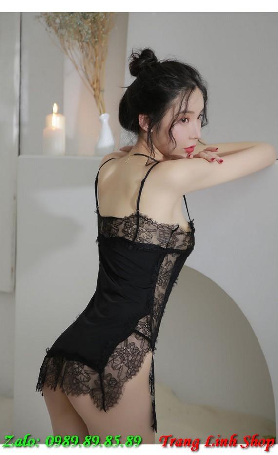 Váy ngủ thun trơn viền ren quyến rũ
