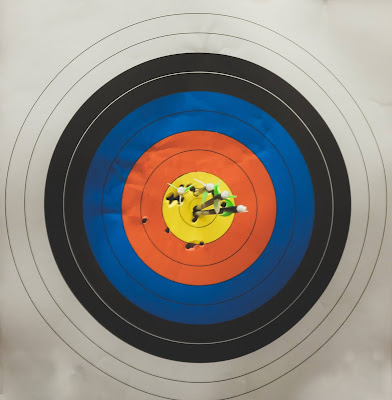 Target made up of many circles and colors, and darts that are in the center. Some holes are within different circles, representing different attempts to hit the middle.