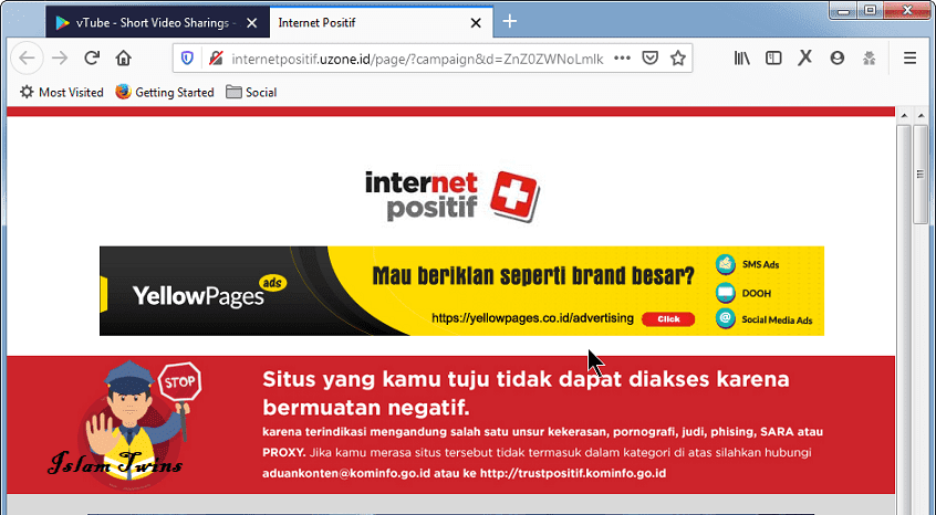 Website Vtube Diblokir