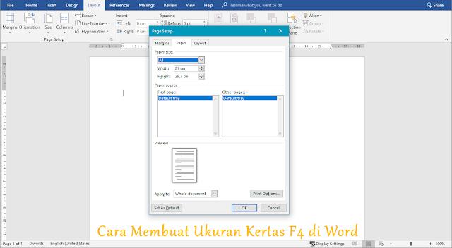 cara membuat ukuran kertas f4 di microsoft word