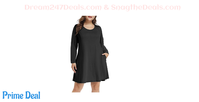 50% off Plus Size Long Sleeve Pockets Dress