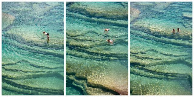 Tres vistas de las piscinas naturales de La Gorga con el agus turquesa