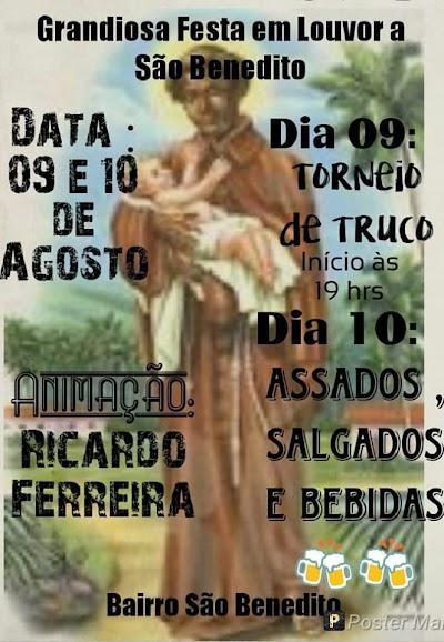 Dias 09 e 10:Final de semana promete muita diversão no Bairro São Benedito!