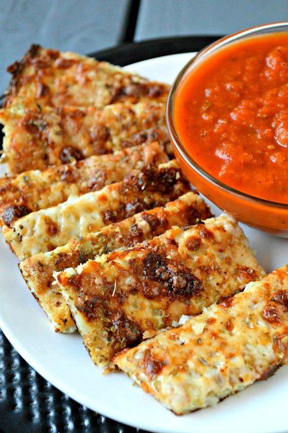 Cheesy Cauliflower Breadsticks recipe - a yummy way to get sneak cauliflower into your meal!