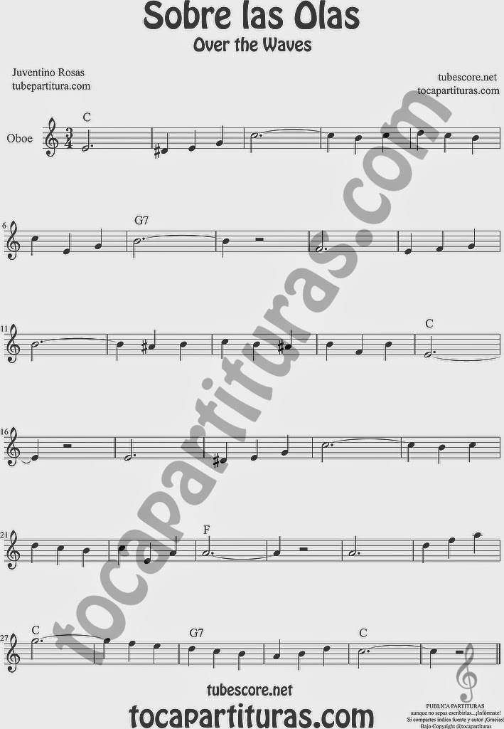 Sobre las Olas Partitura de Oboe Sheet Music for Oboe Music Score Juventino Rosas Over the Waves