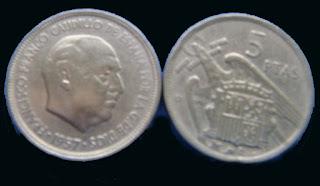 Moneda de un duro, cinco pesetas (5) de Francisco Franco