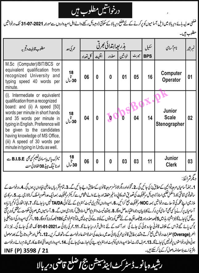 District and Session Courts Dir Upper Jobs 2021 – Application Form