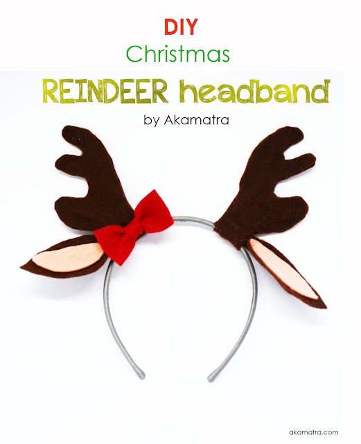 Christmas reindeer headband tutorial - Non sew DIY