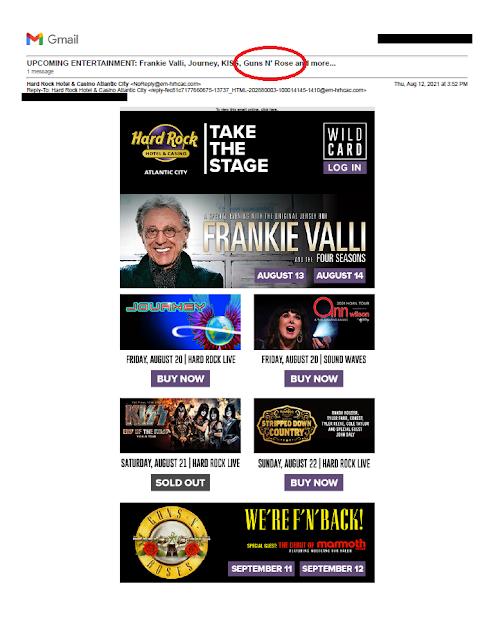 Hard Rock Hotel & Casino email for Guns N' Roses