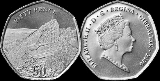 Gibraltar 50 pence 2020 - New circulation type (Skywalk)