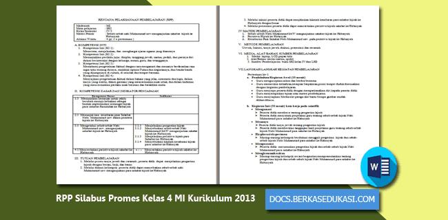RPP Silabus Promes Kelas 4 MI Revisi 2019-2020 Kurikulum 2013