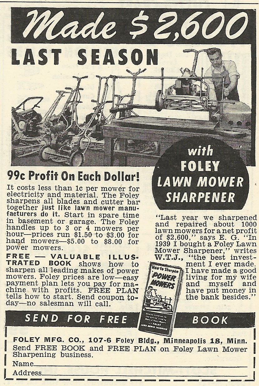 Old Ads Are Funny 1956 Ad Foley Lawn Mower Sharpener